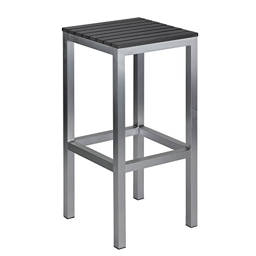 Haven Aluminum Outdoor Backless Barstool in Slate Grey Poly Wood, Brushed Nickel