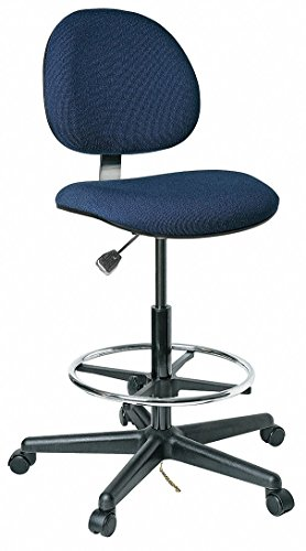 Task Stool, ESD, on Casters with Footring, Conductive Fabric, Plastic Base, Navy Blue