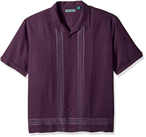 Short Sleeve Linen Camp Shirt - Cubavera Men's Short Sleeve Rayon-Blend Cuban Camp Shirt with Embroidery, Nightshade, Extra Large