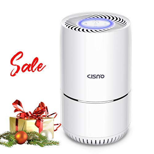 - CISNO Air Purifier 3 Stage True HEPA Filter, Smoke Odor Pets Dander Remover, Allergies Eliminator Captures Dust Mold Pollen - 80sqft - for Home, Office, Kitchen, Baby Room