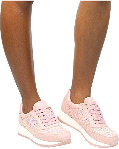 Glister Womens CECE-08 Glitter Fashion Wedge Sneakers Pink A8OHQ7H