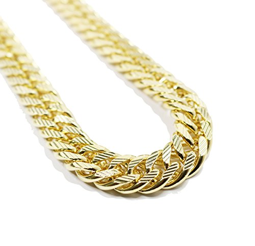 Heavy Yellow Gold Cuban Link Chain Necklace with Diamond Stripe Cuts Stripe Chain Link