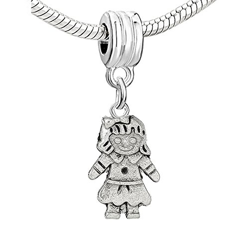 - SEXY SPARKLES Little Boy or Little Girl Charm Bead for Snake Chain Charm Bracelet (Choose From Menu) (Girl With Bow Charm)