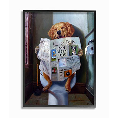 The Stupell Home Décor Collection Dog Reading The Newspaper On Toilet Funny Painting Framed Giclee Texturized Art, 11 x 14, Multi-Color