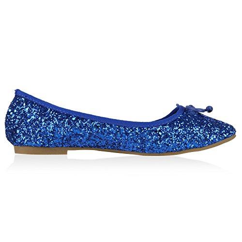 Glitzer fashion Schuhe Schuhe Optik Damen Schleifen Freizeitschuhe Creme Slippers Glitzer Blau Ballerinas Lackleder Flats napoli Klassische Jennika Ballerina wqfXX