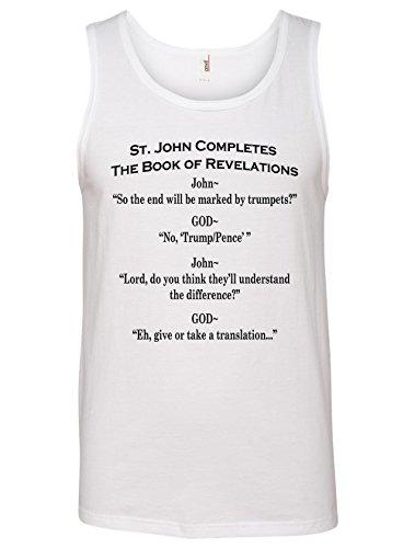Tenacitee Men's Book of Revelations Tank Top, X-Large, White Revelation Sleeveless Shirt