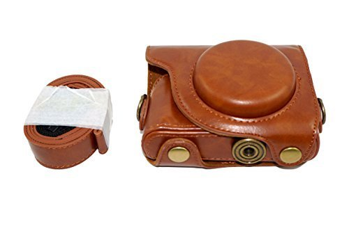 Protective PU Leather Camera Case Bag with Tripod Design Compatible For Canon PowerShot G9 X (2015 Model) G9x with Shoulder Neck Strap Belt Brown