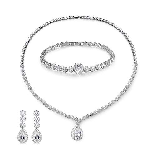 MASOP Bling Crystal Bridal Wedding Jewelry Sets for Women Short Necklace Bracelet Dangle ()