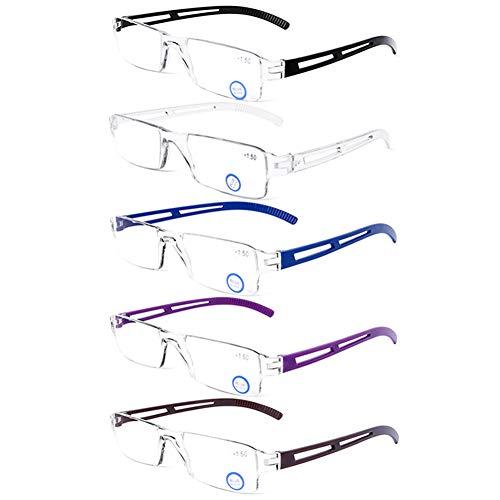 DOOViC 5 Pack Anti Blue Light Reading Glasses One-Piece Design Readers Blue Blocking Computer Glasses UV Protection Unisex (Men/Women) +1.50