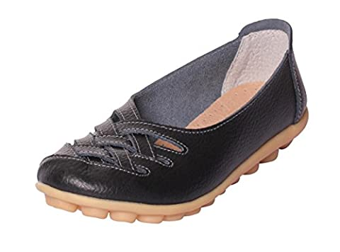 UJoowalk Women's Leather Cowhide Flat Casual Slip on Driving Loafer Shoes (10 B(M) US, Black) (Bo Street Runners)