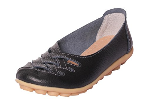 UJoowalk Womens Leather Cowhide Flat Casual Slip on Driving Loafer Shoes