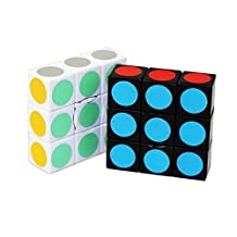 Qm-h Set of 2 pieces 1x3x3 Classical Rubik's Speed Puzzle Magic Stickerless Black and White