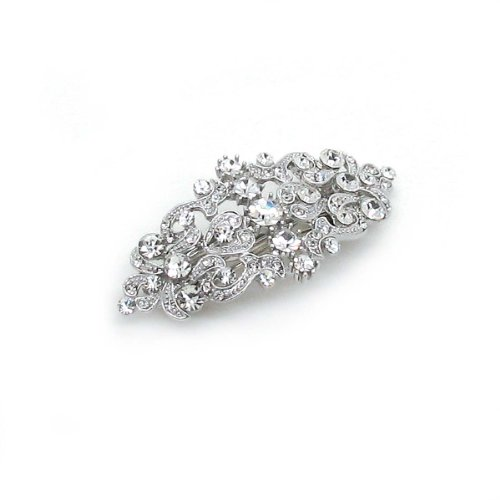 Sparkly Bride Bridal Hair Barrette Vintage Romancing Heart Rhinestone Crystal Small 2.5 inches