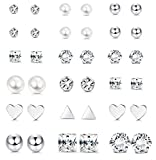 LOYALLOOK 12 Pairs Stainless Steel Earrings Stud Earrings Set for Womens Girls Round Clear CZ Stud (18 Pairs)