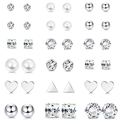 LOYALLOOK 12 Pairs Stainless Steel Earrings Stud Earrings Set for Womens Girls Round Clear CZ Stud (18 Pairs) by LOYALLOOK
