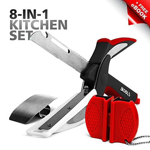 Manual Food Chopper and Multi Functional Kitchen Shears for Meat and Vegetables, Heavy Duty Stainless Steel Kitchen Scissors, Bottle Opener, Peeler, Cutting Board, Sharpener (Universal Meat Chopper)