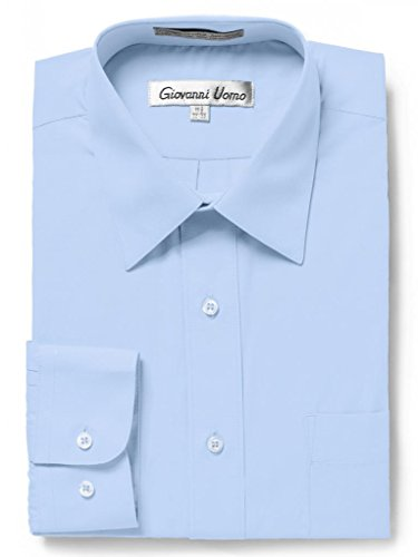 - Gentlemens Collection Men's Regular Fit Long Sleeve Solid Dress Shirt,Light Blue,18.5 inches Neck 34/35 inches Sleeve