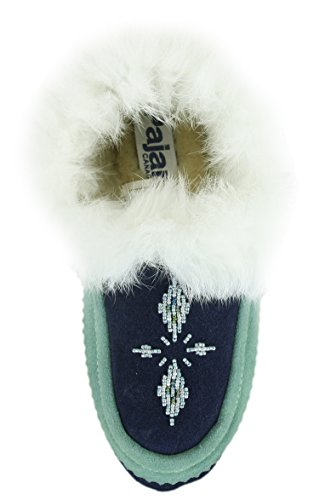Pantofole In Pelle Scamosciata Bianca Pajar Navy / Turchese