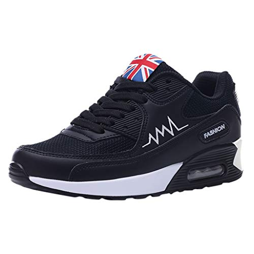Yucode Women Lace Up Running Shoes Air Cushion Sneakers Lightweight Athletic Tennis Sport Shoe Casual Walking Shoes Black