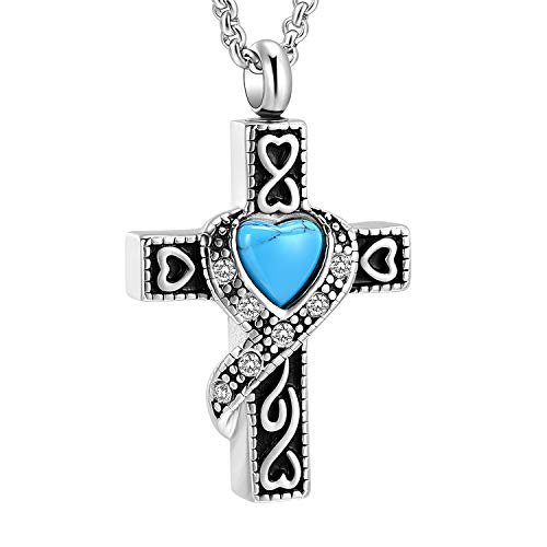 Hearbeingt Cremation Jewelry Urn Necklaces for Ashes, Retro Crystal Cross Memorial Pendant Made of 316L Stainless Steel with Heart Shape Turquoise.