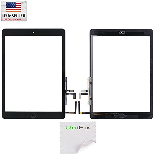 Unifix-Black Touch Screen Glass Digitizer For iPad Air 5 with Pre-installed Adhesive & Home Button