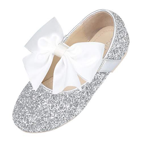 - Silver Flower Girls Dress Shoes Princess Ballet Flats Ballerina Sparkle Mary Janes Little Kid Size1 Wedding,School,Party