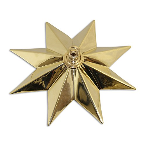 RCH Hardware CN-11-PB CN-11-S-H-PB Solid Brass Decorative Star Shaped Ceiling Canopy Medallion Accent for Chandeliers and Pendant Lighting with Matching Screw Collar and Loop Polished ()