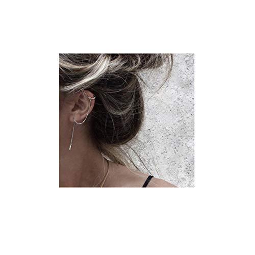 Double Wrap Cuff - SLUYNZ 925 Sterling Silver Cuff Chain Earrings Wrap Tassel Earrings for Women Crawler Earrings (Silver)