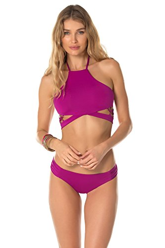 Becca by Rebecca Virtue Women's Hourglass High Neck Halter Top Mulberry M