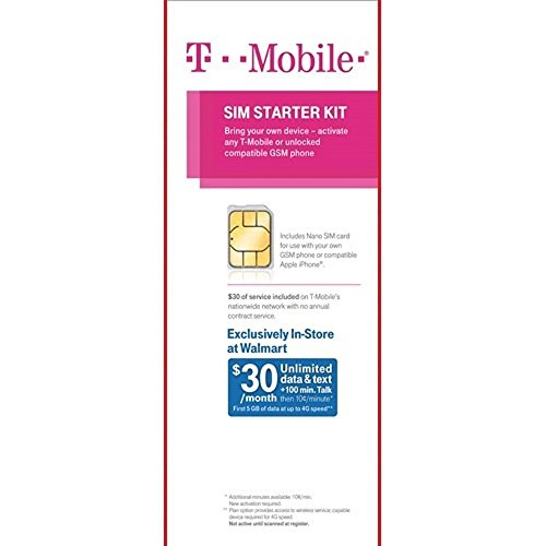 T-Mobile Sim Starter Kit with $30 of Service Included (Nano Sized SIM) by T-Mobile