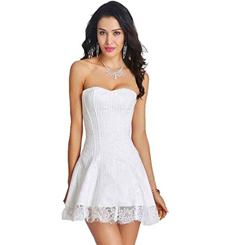 Queenral Women Corset Dress Gothic Steampunk Halloween Lace up with Lace Skirt White