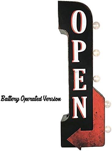 Rustic Metal Marquee ENTER Arrow Light Up Open Entrance Door Store Come In Sign