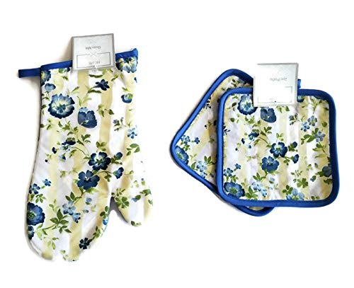 (Yellow and Blue Pansy Flowers 3 Piece Linen Bundle Package Oven Mitt (1) Pot Holders (2) )
