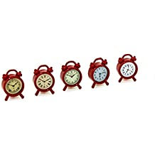 Dreamyth 1/12 Scale Miniature Dollhouse Accessories Mini Alarm Clock Model Toy Kids Toy Fun Gift (red)