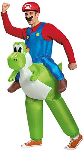 Disguise Men's Mario Riding Yoshi Adult Costume, Multi, One Size (Super Mario Costume For Men)