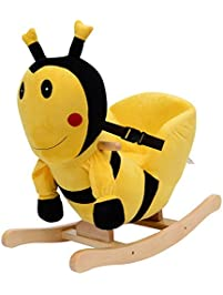 qaba kids plush rocking horsestyle bumble bee theme chair