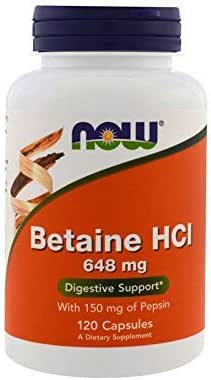Now Supplements, Betaine HCl 648 mg, Vegetarian Formula, 120 Veg Capsules (120 Veg Caps)