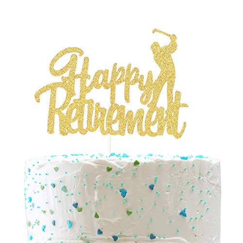 Happy Retirement Cake Topper,Farewell Sign Golf Retirement Party Decorations (Double Sided Gold Glitter) ()