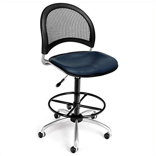 (OFM 336-VAM-DK-605 Moon Swivel Vinyl Chair with Drafting Kit, Navy)