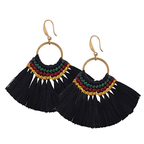 DENER Fashion Bohemian Earrings Women Long Tassel Fringe Dangle Earrings Jewelry (A) Diamond Cut Bead Fringe