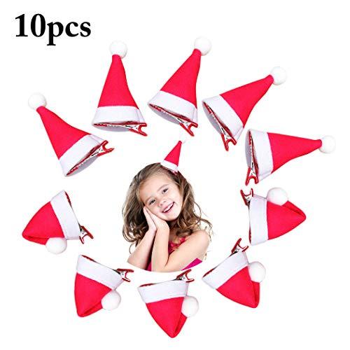 (Aniwon 10PCS Christmas Hair Clip Cute Santa Hat Decor Hair Clip Hair Barrette Clip)