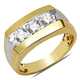 Men's 1CT Diamond 3 Stone Fashion Ring in 14k Yellow Gold with a Cage Back,10.5
