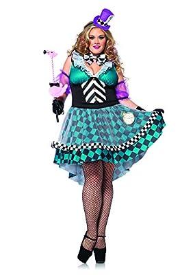 Leg Avenue Women's Plus-Size 4 Piece Manic Mad Hatter Plus Size