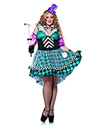 Leg Avenue Women's Plus-Size 4 Piece Manic Mad Hatter Plus Size