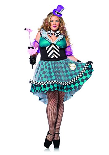 [Leg Avenue Women's Plus-Size 4 Piece Manic Mad Hatter, Black/Blue, 3X/4X] (Used Plus Size Halloween Costumes)