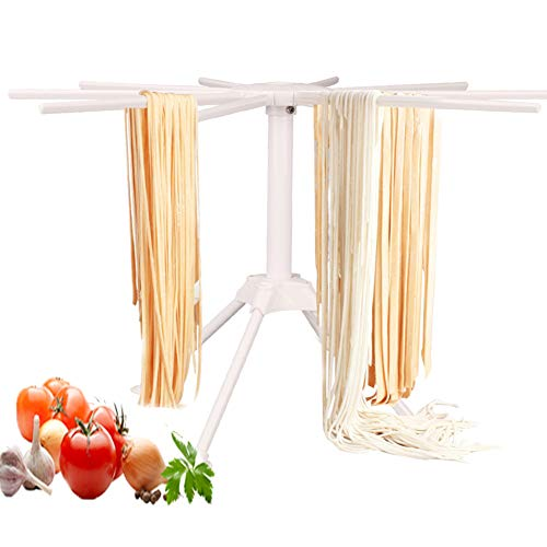 Pasta Drying Rack Collapsible,Fresh Noodles Hanging Stander,Household Pasta Drying Tool for Kitchen,Foldable Plastic Noodles Stander Spaghetti Holder Stand with 4 Legs and 10 Arm Handles (White)