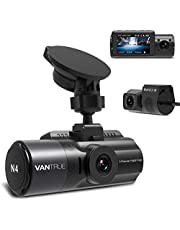 Vantrue N4 Three Way Dash Cam, 3 Channel Front Inside and Rear 1440P+1080P+1080P Car Camera with Infrared Night Vision, Supercapacitor, 24hrs Parking Mode, Collision Detection, G-Sensor & Loop Recording, WDR, 2.45 inch LCD, Support up 256GB Max