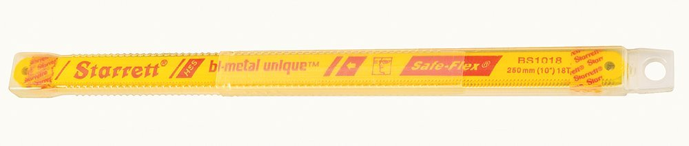 Starrett KBS1018-10 Bi-Metal Unique High Speed Steel Safe-Flex Hacksaw Frame Blade, 0.025'' Thick, 18 TPI, 10'' Length x 1/2'' Width (Pack of 10)