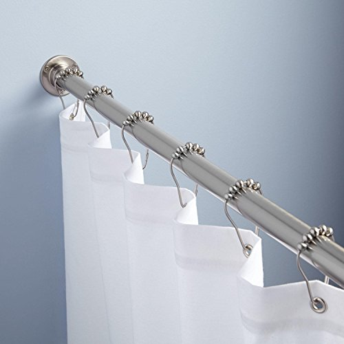 Naiture 60'' Never Rust Brass Straight Shower Curtain Rod Polished Nickel Finish by Naiture (Image #1)