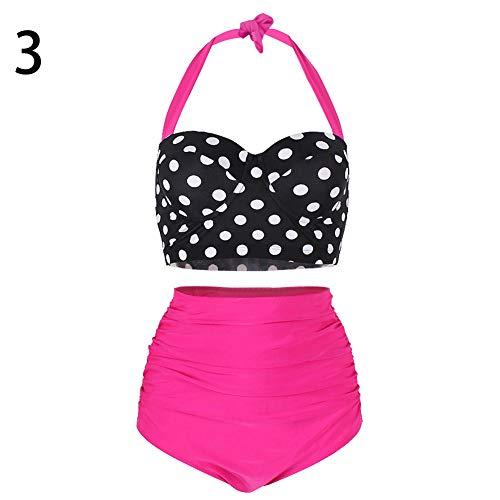 Kyuccfrs Bikini Set, Swimsuit Two-piece Summer Women Polka Dot Halter High Waist Ruched 3 M